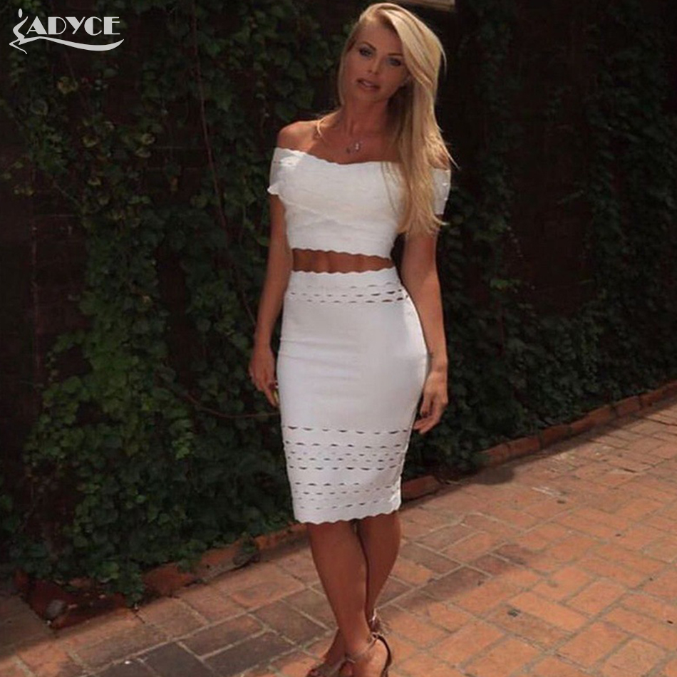 Adyce 2019 Chic New Fashion Women Summer Black Two Pieces Set Short Top Bodycon Skirt Celebrity