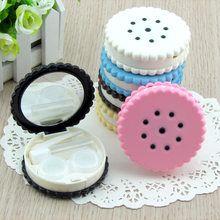 LIUSVENTINA cute bow Biscuits Cookies cracker contact lens case for color lenses container box gift for girls(China)