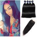 Ms gato cabelo com encerramento peruano cabelo virgem reta com fechamento 4 pcs bundles cabelo com lace closure cabelo liso peruano