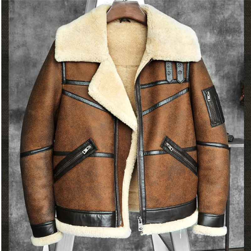 Men's B3 Shearling Sheepskin Bomber Jacket Pilots Coat Men's Fur Coat Winter Flying Jacket