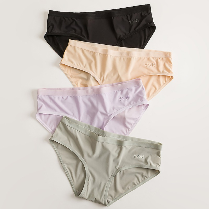 Women Sexy Fashion Women's panties Seamless Panties Ice Silky Underwear Solid Low Waist Briefs Comfortable Panties tangas