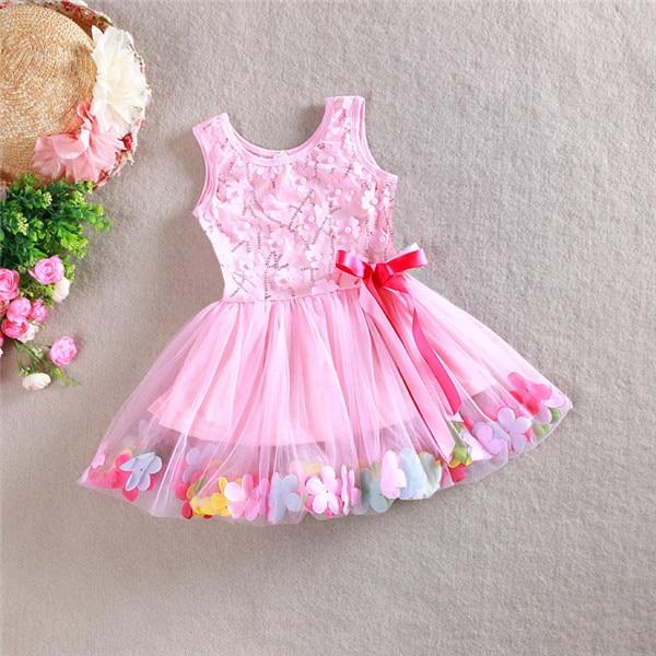 df7ff7a8da58 2015 Kids Girls Tulle Lace Dresses Baby Girl Summer 3D Flower ...