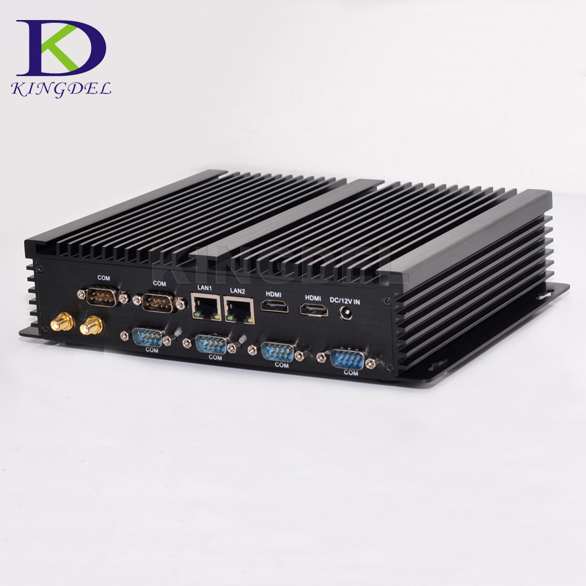 Kingdel Fanless Industrial Mini PC Win10 Core I7 I5 I3 2*Intel Gigabit Lans 6*RS232 8*USB Micro Computer Linux 3G 4G Wifi 2*HDMI