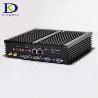 Kingdel Fanless Industrial Mini PC Win10 Core i7 i5 i3 2*Intel Gigabit Lans 6*RS232 8*USB Micro Computer Linux 3G 4G Wifi 2*HDMI