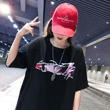 Summer Women Harajuku gothic Print T-shirts short sleeve Loose Tops Casual O-neck Tshirt Female Korean black hip hop streetwear