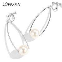 Classic 100% Simple 925 Sterling Silver Drop Earrings For Women Tassel Earrings Pearl Jewelry Wedding&Birthday High Quality Gift