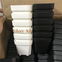 40 Stks/partij, Groothandel, Wit/Zwart Kleine Extra Dikke Ondiepe Plastic Vierkante Wastafel, thuis Tuinieren Plastic Bloempot, Vlees Kom