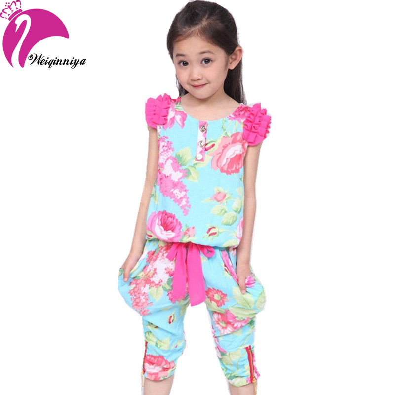 New style 2016 summer flower girls sets cotton floral for New shirt style for girl