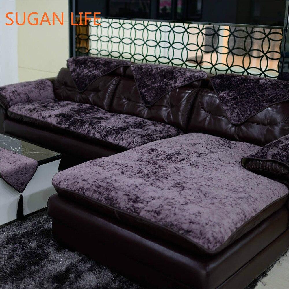 European Style Purple Blue Beige Velvet Sofa Cover Plush