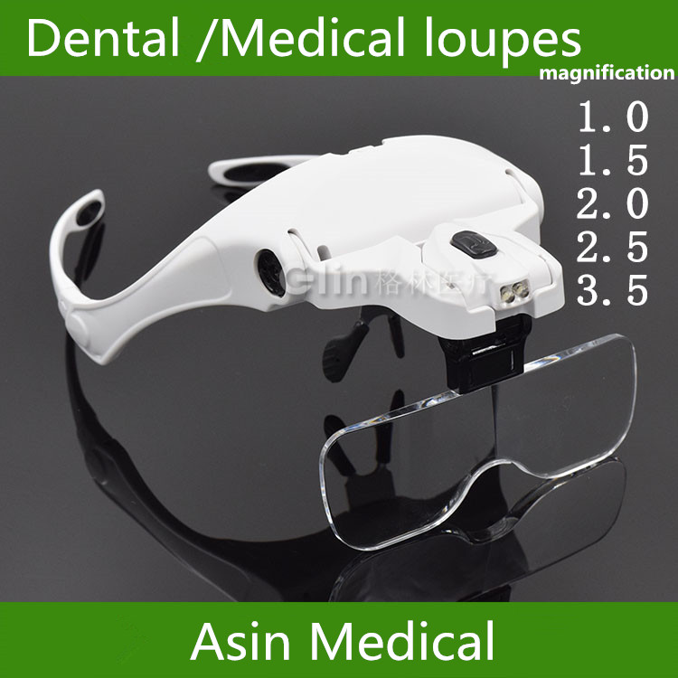 ФОТО New arrival Mask type Dental LED Magnifier Intraoral dental Loupe instruments lighting Magnifier headlamp with 5 magnifications