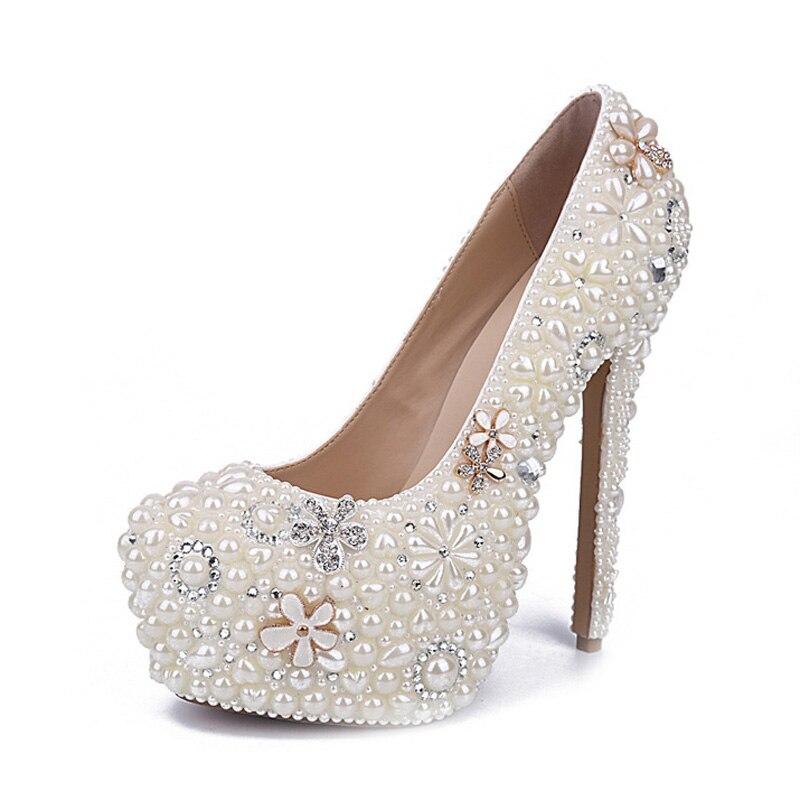 white Heels Heels Heles Grande Perle ivory Talons Mariage De Plate Mariée Fleur Pompes 14cm Strass 10cm Chaussures Gros Belle En Taille Femmes White Blanc 12cm Haute Nouvelle forme BZx1W4xf