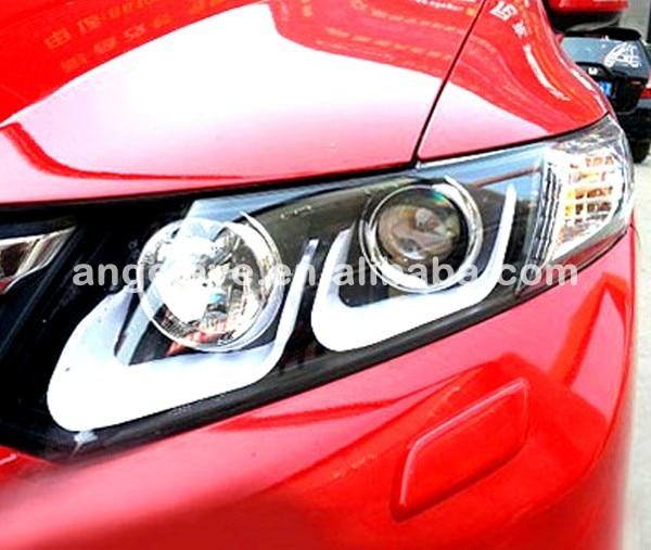 For Honda Civic LED Strip U type Angel Eyes Head Light 2012-2013 year LD