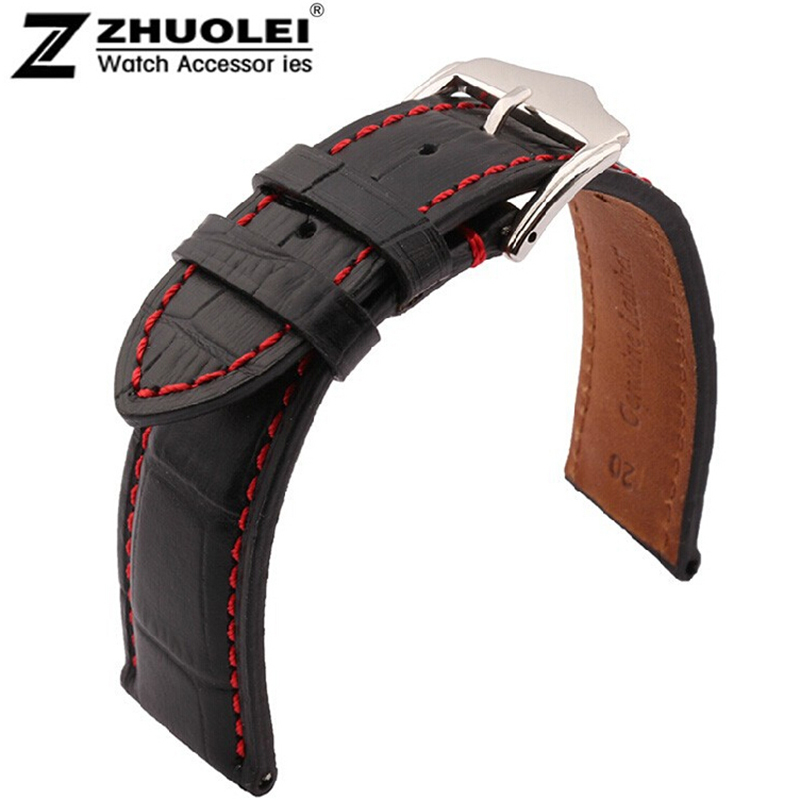 Highquality 18mm 19mm 20mm 21mm 22mm 23mm 24mm New Black Genuine Leather Watchband Watch Strap bracelet men With Red stitching new mens genuine leather watch strap bands bracelets black alligator leather 18mm 19mm 20mm 21mm 22mm 24mm without buckle