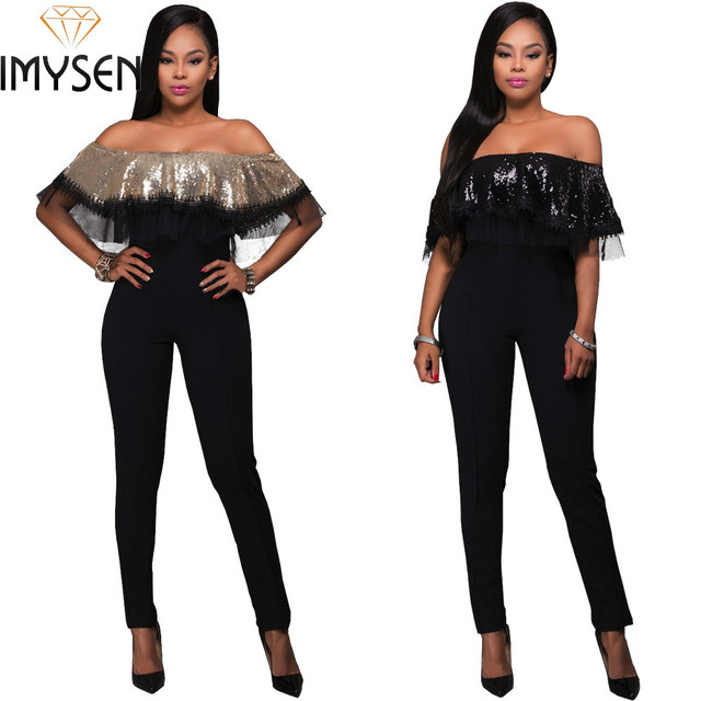 2017 Spring Summer sexy flounce romper lace sequined Jumpsuit women tight strapless off shoulder ruffles bodysuits plus size XL