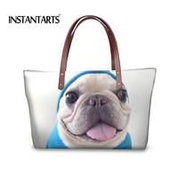 INSTANTARTS Cute 3D Animal Dog Bulldog Printing Women Tote Bag Large Capacity Top Handle Bag For