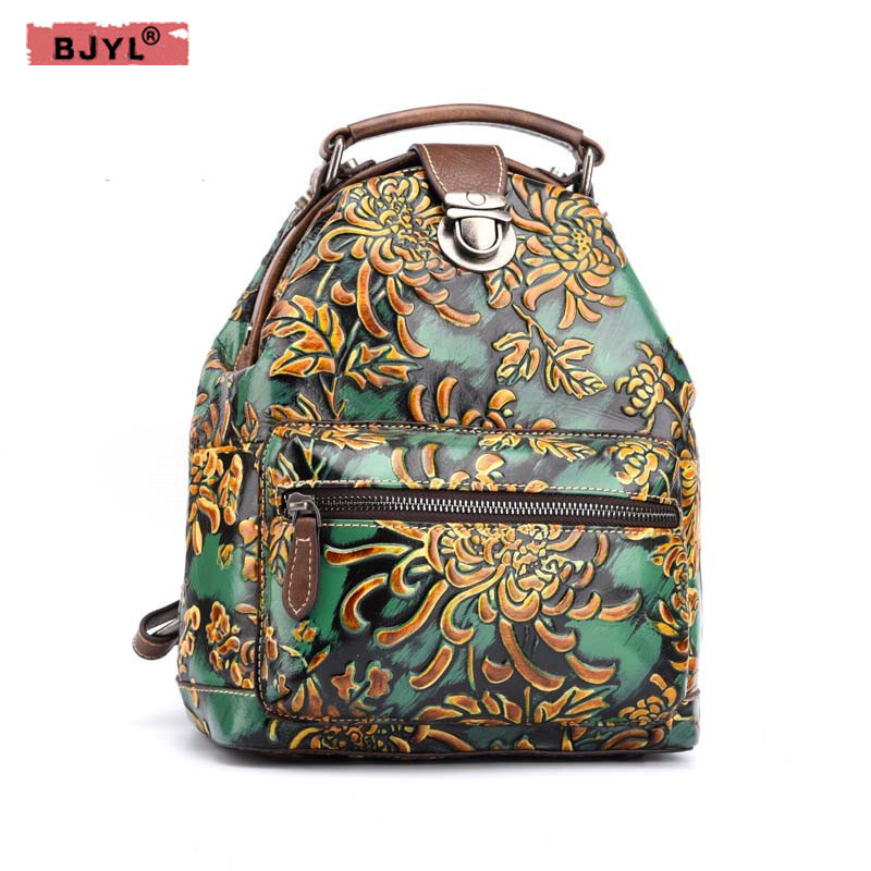 BJYL New Women Floral Printing Backpack Genuine Leather Female Bags Vintage Design Laptop School Bag mochila escolar travel Bags