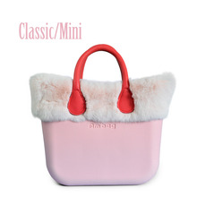 Classic Mini Obag Style Complete EVA AMbag with Pink Rex Rabbit fur Trim Insert Handles Women's bags O bag