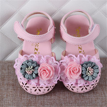 Xinfstreet Baby Girls Shoes Summer Flower Cute Toddler Kids For GIrls PU Leather Soft Infant Size 15-25