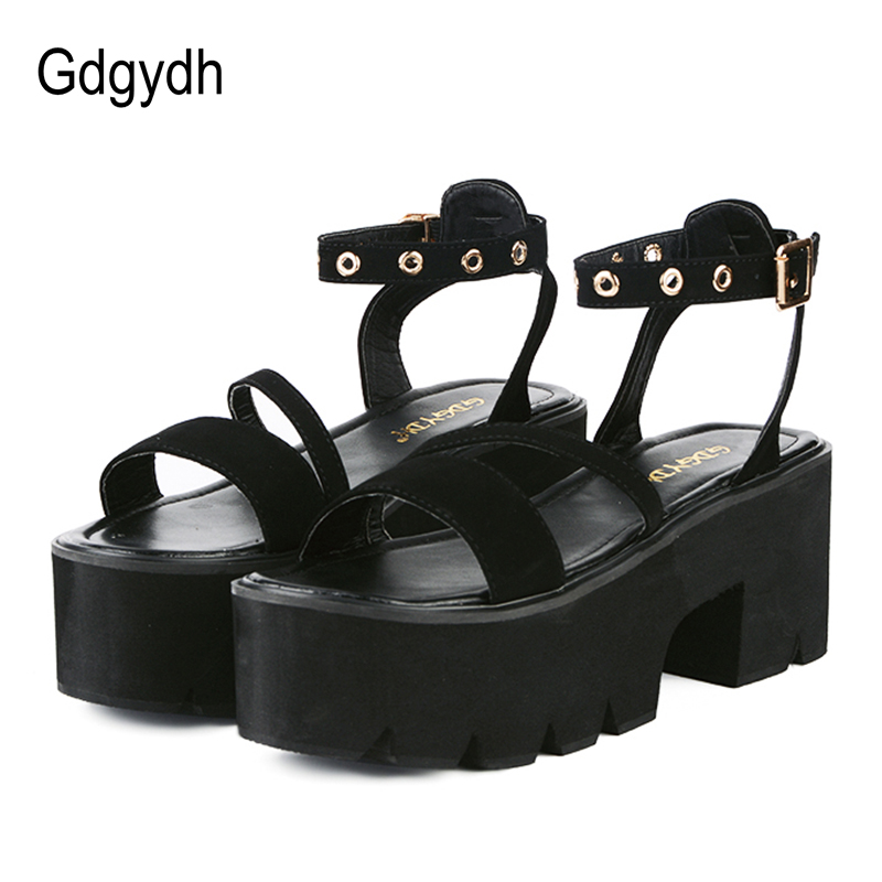Gdgydh Summer Ladies Platform Shoes Fashion Comfortable High Heels Party Shoes Ankle Wrap Casual Open Toe Black Women Sandals hxrzyz high heels sandals women rivet thick heel clear shoes summer fashion ladies open toe black white comfortable women shoes