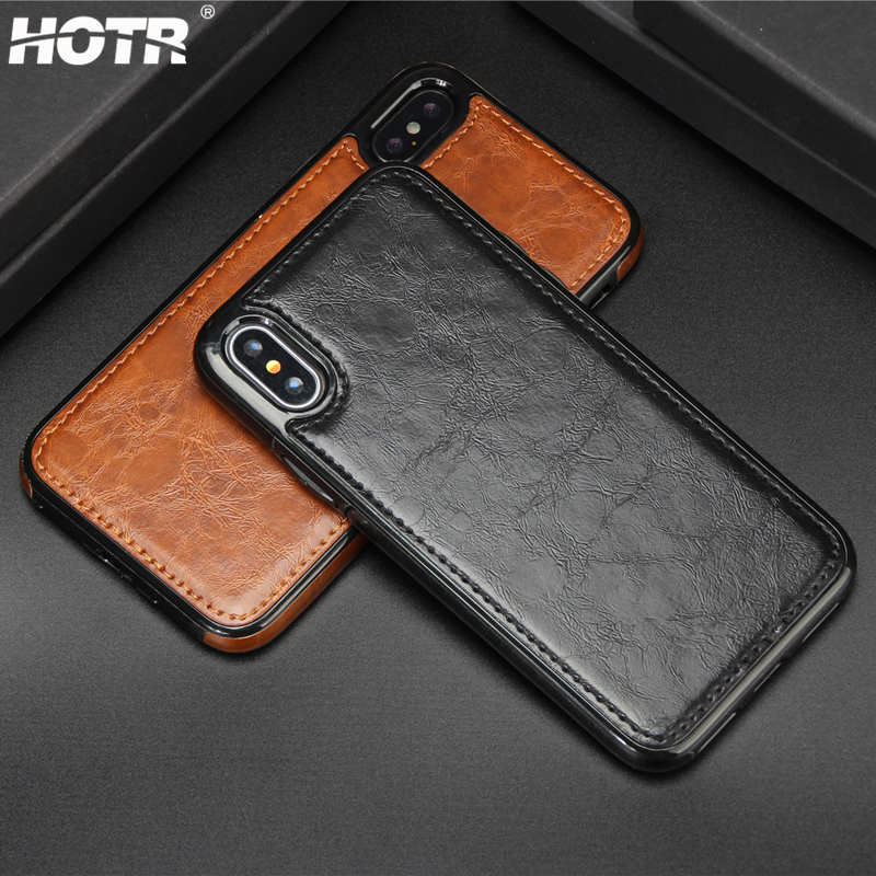 cheap for discount aa482 89015 US $3.99 10% OFF|HOTR Vintage Leather Case for iphone X PU Leather Case  Magnetic Absorption Back Cover for iphone 9 8 7 6 6S Plus 5 XS XR XS Max-in  ...