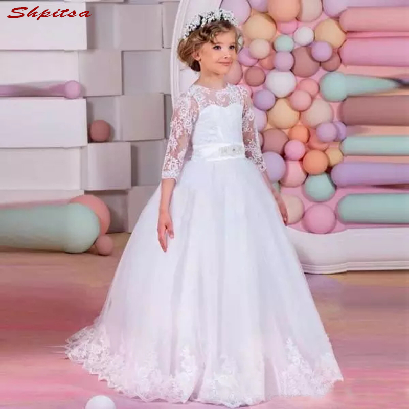 White Lace Flower Girl Dresses for Weddings Evening First Communion ...