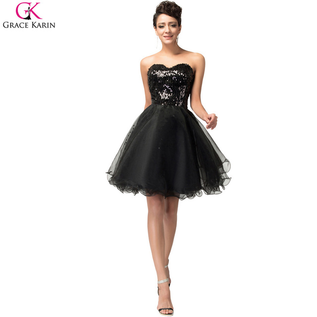 d2e2ade06a49 Short Cocktail Dress Grace Karin Glitter Knee Length Strapless Tulle Sequin  Black Formal Gowns Golden Special Occasion Dresses