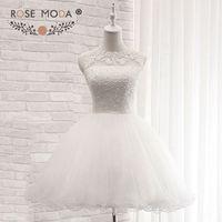 Real Photo White Ivory Short Graduation Dress With Ball Skirt Keyhole Back Pearl Beaded Bodice Formal