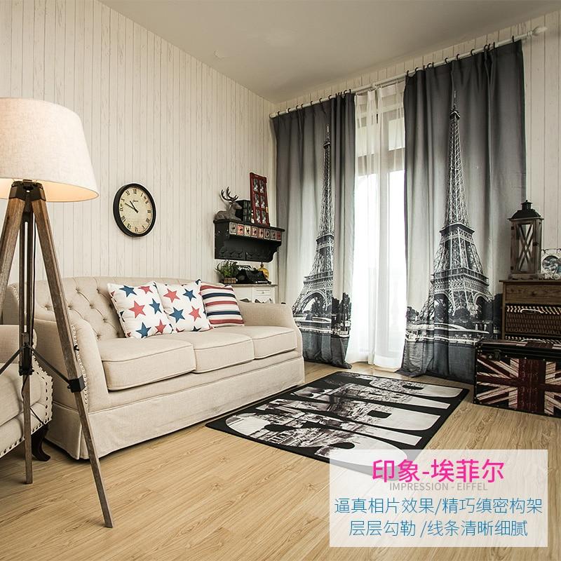3d Linen cheap curtain fabrics Paris Eiffel Tower Blinds blackout ...
