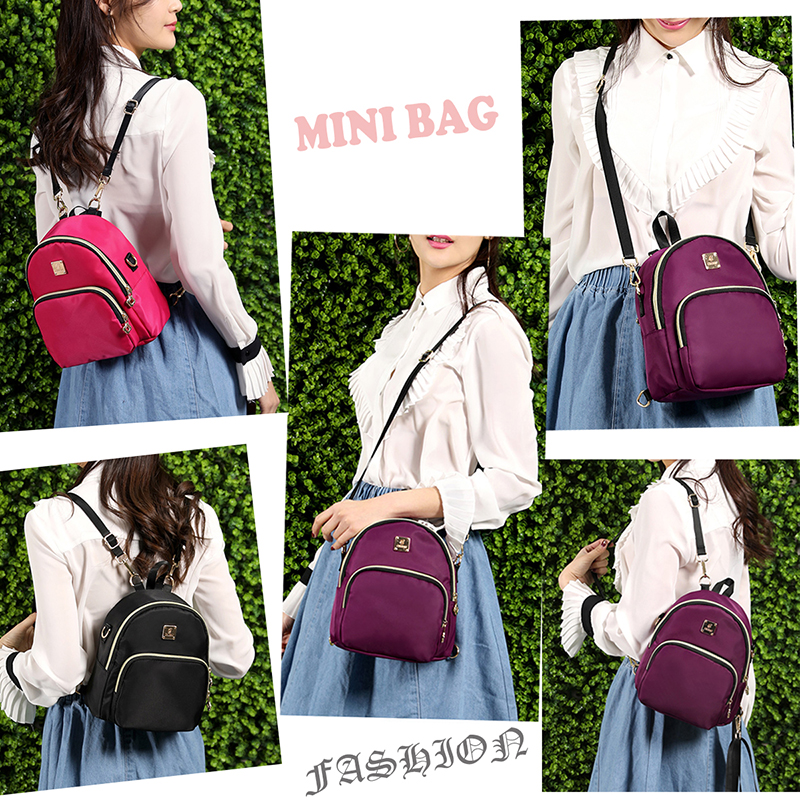 ddd475c9bb Women Mini Backpack Purse Nylon Waterproof Small Backpack for Girls Multifunctional  Cross Body Bag 2018 Fashion Bag -in Backpacks from Luggage   Bags on ...