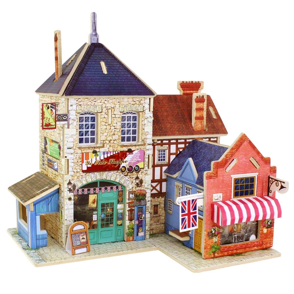 3D деревянные головоломки DIY Модель Детские игрушки романтический французский Стиль Кофе Дом головоломки малыш ручной работы игрушки деревянные пазлы для для мальчиков и девочек подарок