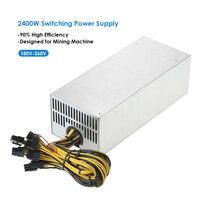 2400 Вт переключения сервер Питание 90% высокая эффективность профессиональные горные машины Источники питания для Эфириума S9 S7 L3 Rig Минин