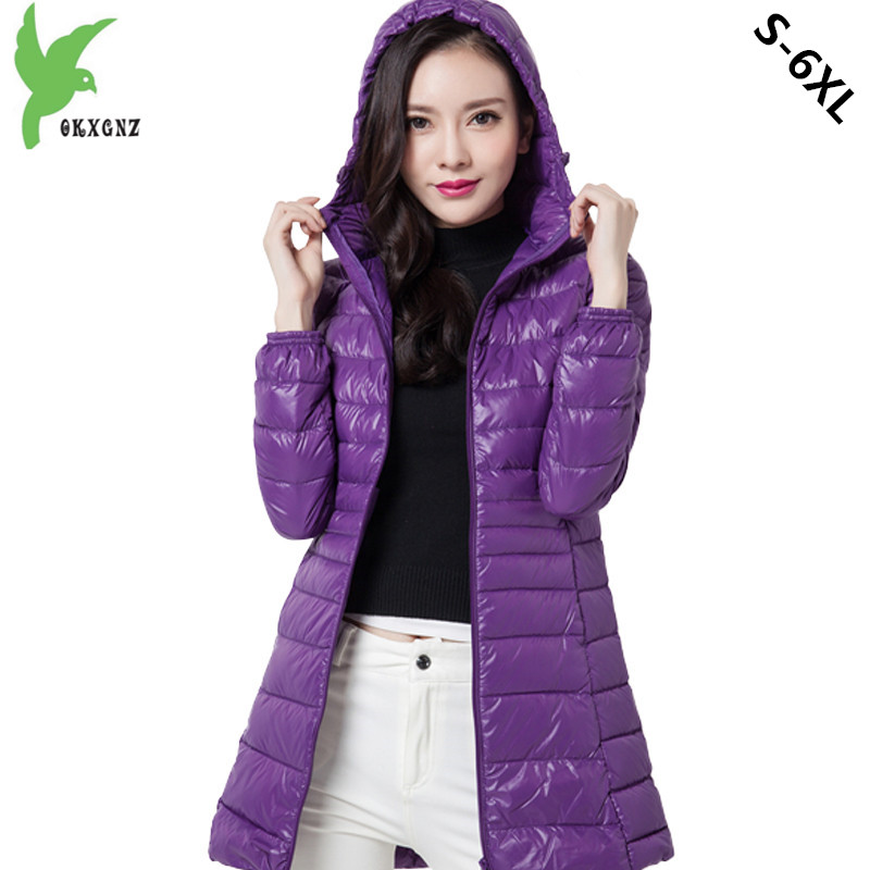 Plus size 6XL Women Autumn Winter Down cotton Jacket Coats Medium length Parkas Light Thin Warm Jackets Hooded Coats OKXGNZ 1181 new women s autumn winter down cotton coats fashion solid color casual keep warm jackets thin light slim parkas plus size okxgnz
