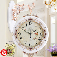 European antique double-sided living room wall clock large mute fashion garden simple creative modern quartz