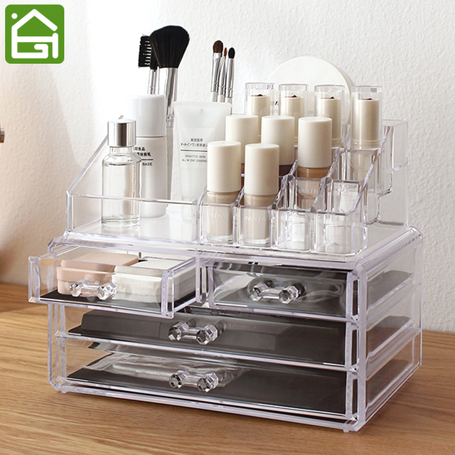 Clear Acrylic Makeup Jewelry Storage Box 4 Large Drawer Organizer U0026 16  Compartments Lipstick Holder