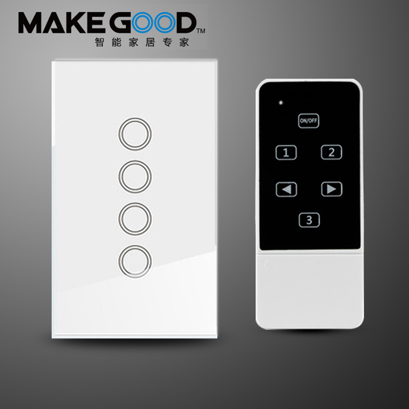 Makegood US/AU 4 Gang 1 Way Smart Switch, Crystal Glass Panel Touch Light Switch, Wireless Remote Control Switch For Smart Home funry st2 us remote control touch switch 1 gang 1 way glass panel smart wall switch for home automation free shipping
