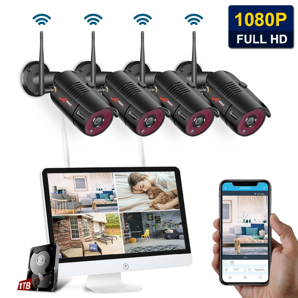 ANRAN 1080P 4CH Home Security Camera System Waterproof Outdoor Night Vision WiFi IP Camera with 15 Inch Monitor 1TB HDD NVR Kits