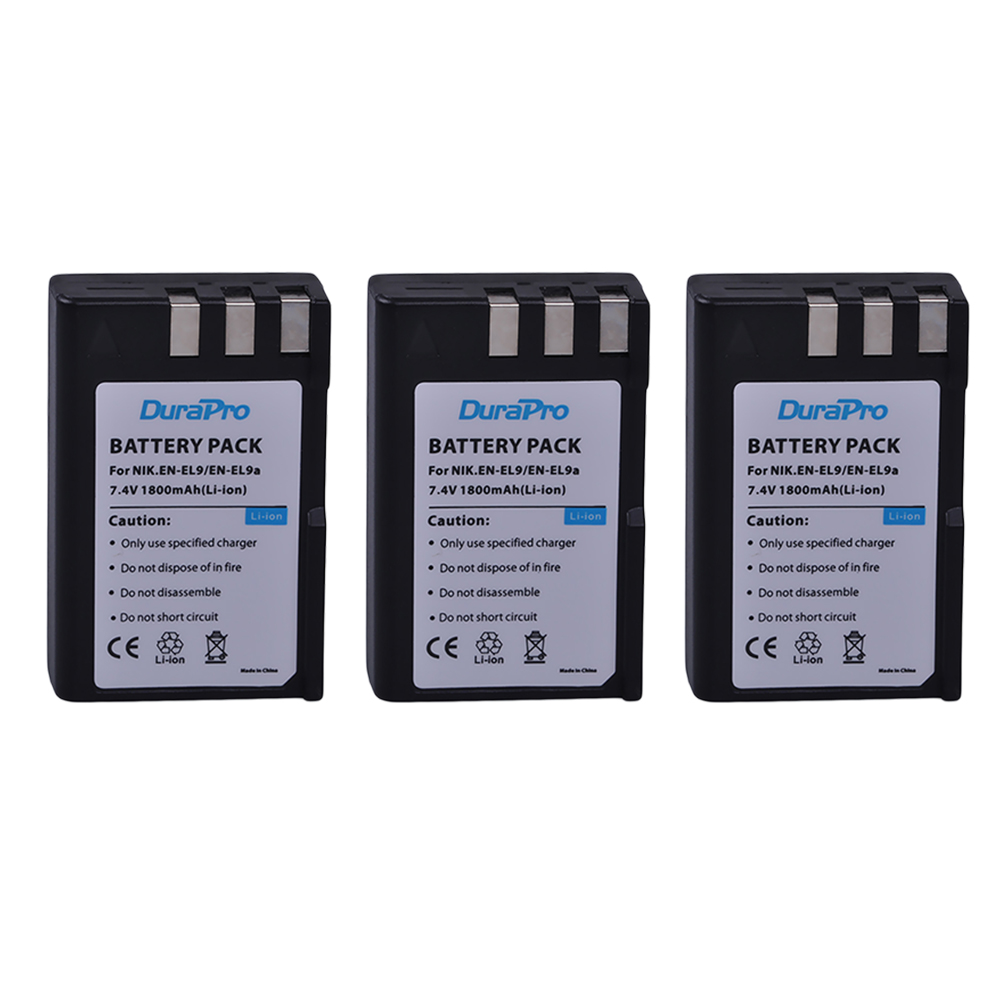 3 pc DuraPro EN-EL9 EN-EL9a EN EL9 7.4 v 1800 mah Haute Capacité Li-ion Batterie pour Nikon D40 D40x D60 d3000 D5000 Appareil Photo Numérique
