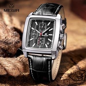 Image 5 - MEGIR neue casual marke uhren männer heißer mode sport armbanduhr mann chronograph leder uhr für männliche leucht kalender stunde