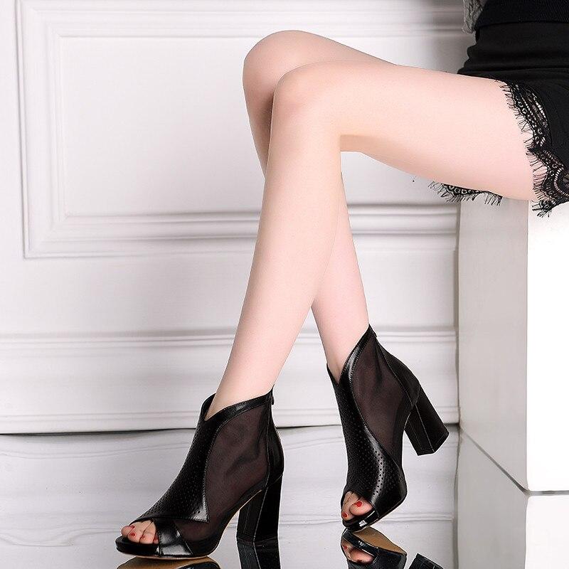 Ymechic Zapatos Tacón Toe Cuero Negro Gladiador Alto Peep Verano Negro Abrir Sandalias Patchwork 2018 blanco Malla Real Botines Mujer rZHxwqrnW