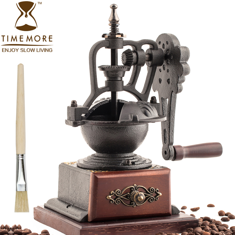 Cast ironsmith manual coffee mill grinding machine labor-saving coffee grinder machine 18krgp four leaves clover diamond pendant alloy necklace gold