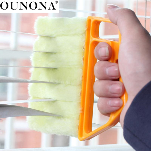 OUNONA Window Clean Brush Air Conditioner Duster with Washable Microfibre Blind Brush Dirt Cleaner Cleaning Tool (Random Color)