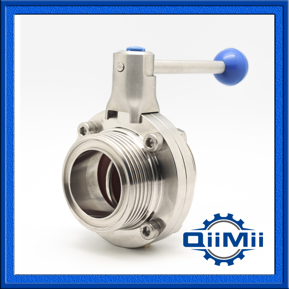 ФОТО DN80 SS304 Silicon Manual Handle Butterfly Valve Thread Sanitary Stainless Steel