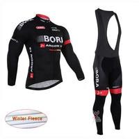 2018 BORA Pro Cycling Jersey Bib Pants Set Ropa Ciclismo MTB Bike Clothing Winter Thermal Fleece