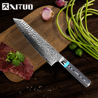 XITUO Japanese Chef Knife Damascus Steel Kitchen Slicing Knife Hand Forged Blade Ultra Sharp Micarta Handle The Best Noble Glft