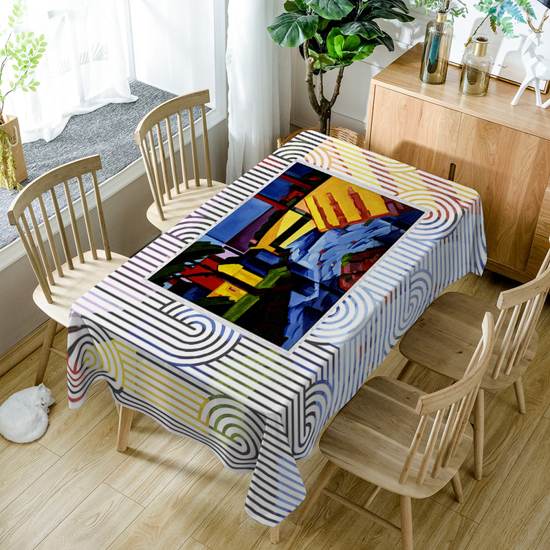 Super Horse Pattern Table Cloth Geometric Print Polyester Tablecloth Oilproof Nappe Dining Table Cover Party Home Decoration D53