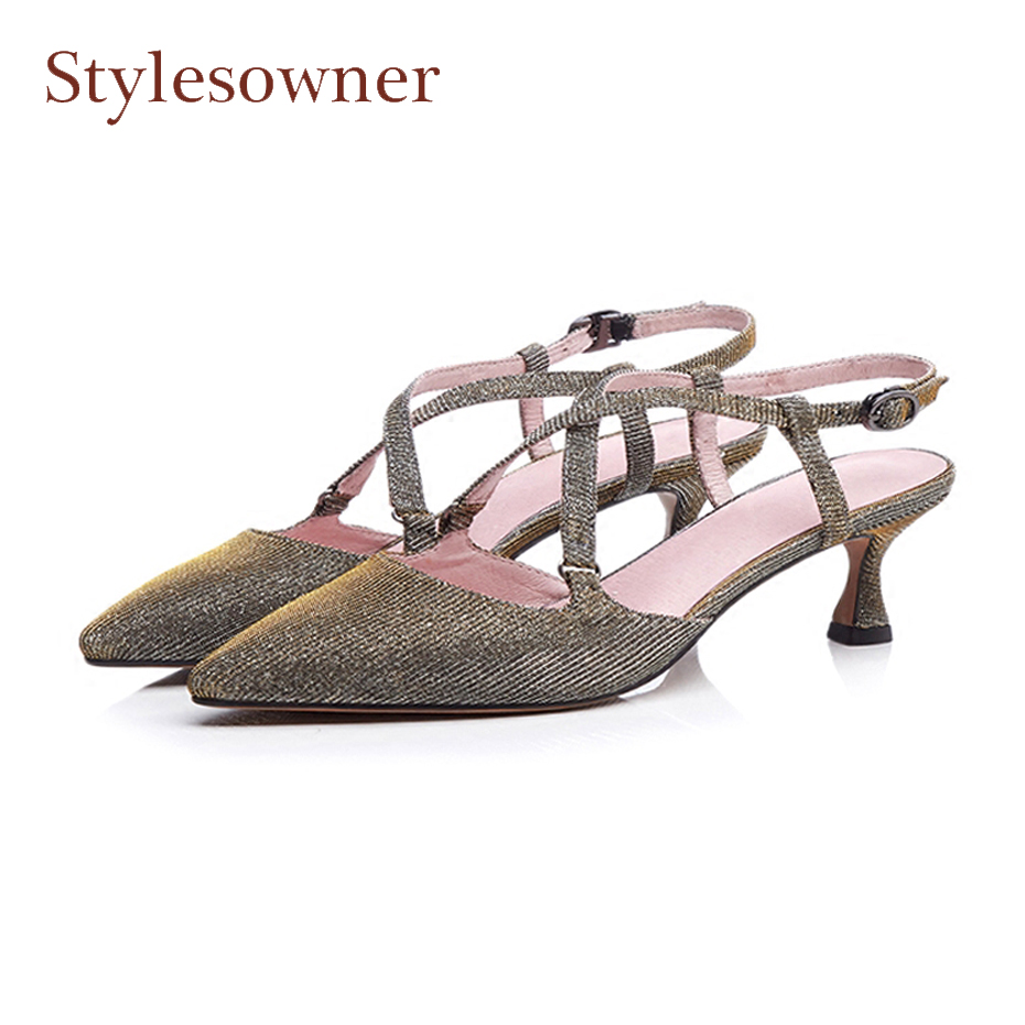 Stylesowner new fashion pointed toe slingback women pumps buckle strap strange high heel lady party wedding shoes summer sandals stylesowner elegant lady pumps sandal shoe sheepskin leather diamond buckle ankle strap summer women sandal shoe