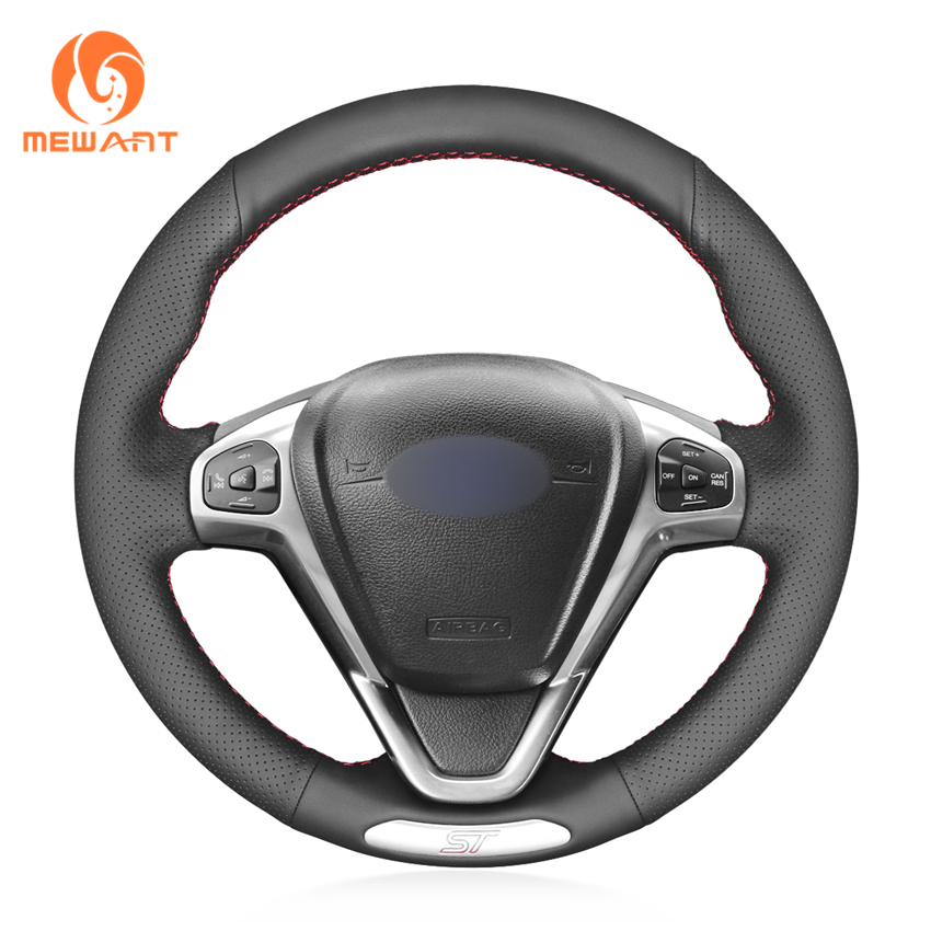 MEWANT Black Genuine Leather Wrap Hand Sewing Car Steering Wheel Cover for Ford Fiesta ST 2013 2014-2017 2018(China)
