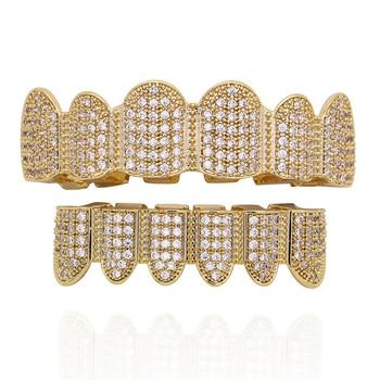518c2977d44ac Хип-хоп золотые зубы Grillz Топ и низ CZ Iced Out грили стоматологические  мужские Косплей зубы шапки Rapper украшения для зубов вечерние подарки