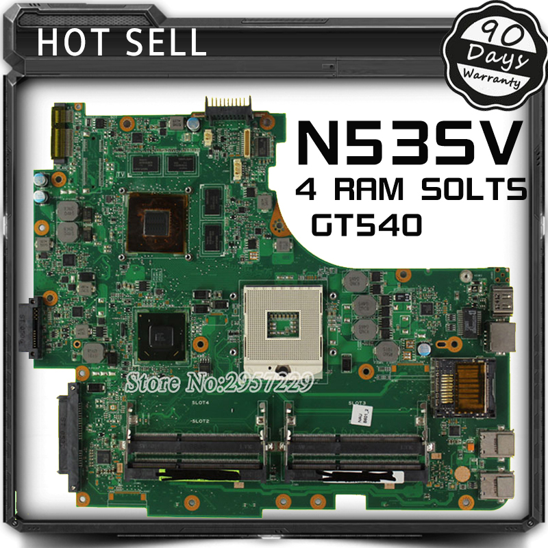 For Asus Motherboard N53S N53SN N53SM N53SV Rev 2.2 GT540 4Ram Solts N12P-GS-A1 100% Working free shipping new original n53s n53sv laptop motherboard main board mainboard rev 2 2 usb 3 0 n12p gt a1 100