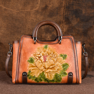 Image 2 - Johnature 2020 New Retro Cowhide Embossed Large Capacity Women Handbag Genuine Leather Floral Casual Shoulder&Crossbody Bags